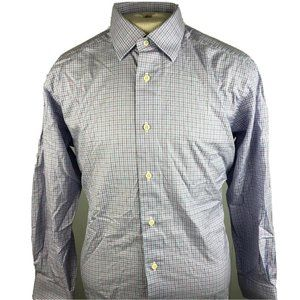 David Donahue Mens Blue Checkered Long Sleeve